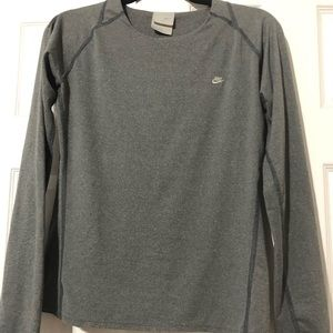 Woman's grey long sleeve work out top.